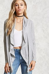 Forever 21 Draped Open Front Cardigan Heather Grey
