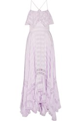 Philosophy Di Lorenzo Serafini Bella Asymmetric Lace Paneled Seersucker Maxi Dress Lilac