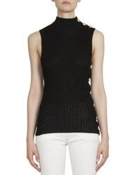 Balmain Sleeveless Mockneck Rib Knit Cotton Top Black