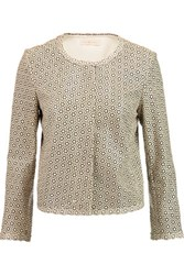 Tory Burch Perry Laser Cut Leather Jacket Ivory