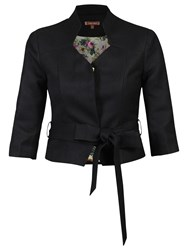 Jolie Moi High Collar Belted Blazer Black