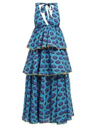 Rhode Resort Leela Tiered Abstract Print Cotton Midi Dress Blue Print