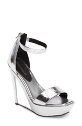 Jeffrey Campbell Women's Tanisha Platform Wedge Sandal Silver Clear