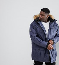 Loyalty And Faith Plus Parka Jacket With Faux Fur Trim Hood Navy