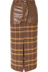 Rejina Pyo Maggie Checked Wool And Faux Leather Midi Skirt Brown