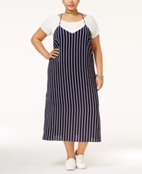Monteau Trendy Plus Size Layered Dress Navy Stripe