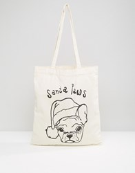 Asos Tote Bag With Santa Paws Print White