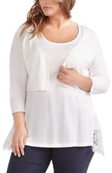 Michel Studio Plus Size Women's Crop V Neck Cardigan