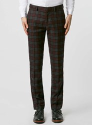 Topman Burgundy Check Skinny Suit Trousers Red