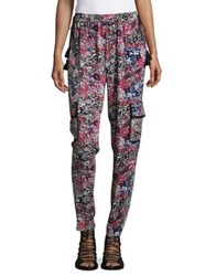 T Tahari Floral Drawstring Pants Black Multicolor