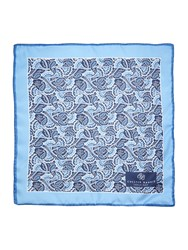 Chester Barrie Silk Floral Pocket Square Blue Multi