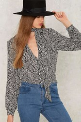 Goldie Scattered Pussybow Blouse Black