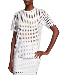 T By Alexander Wang Short Sleeve Eyelet Jacquard Tee White