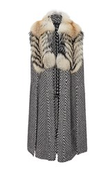 Sally Lapointe Mohair Herringbone Long Cape Black White