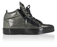 Giuseppe Zanotti Men's Patent Leather Double Zip Mid Top Sneakers Dark Grey