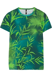 Versus Printed Stretch Cotton T Shirt Turquoise