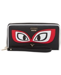Guess Clare Large Zip Around Wallet Black Multi