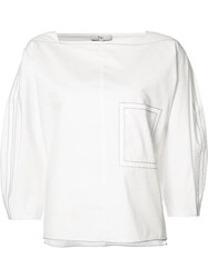 Tibi Boatneck Blouse White