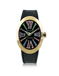 Locman Change Gold Plated Stainless Steel Oval Case Women's Watch W 3 Leather Straps Black