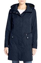Women's Cole Haan Double Face Packable Raincoat With Detachable Hood Navy