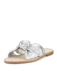 Loeffler Randall Lucia Knotted Leather Flat Slide Sandal Silver