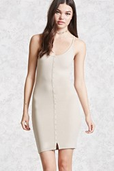 Forever 21 Ribbed Knit Bodycon Dress Tan