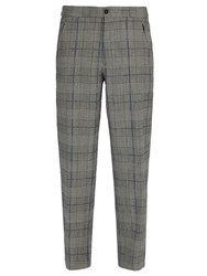 Joseph Edgar Tailored Check Wool Trousers Charcoal