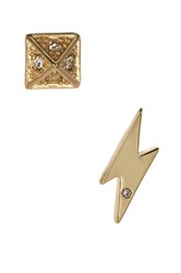 Ariella Collection Pave Pyramid And Lightning Stud Earrings Set Of 2 Metallic