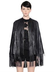 Elie Saab Fringed Nappa Leather Cape