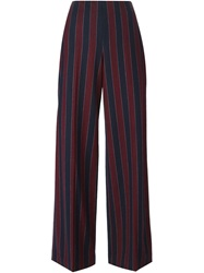 Carven Striped Wide Leg Trousers Blue