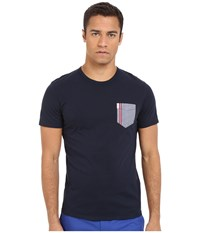 Ben Sherman Short Sleeve Gingham Tipped Pocket Tee Mb11826a Navy Blazer Men's Short Sleeve Pullover