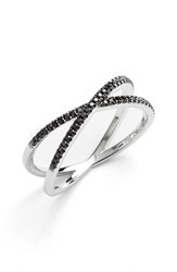 Women's Bony Levy Stackable Crossover Diamond Ring Black Diamond White Gold Nordstrom Exclusive