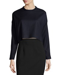 Nicholas Pinstripe Long Sleeve Cropped Sweater Navy