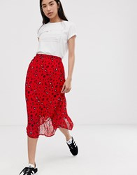 Selected Floral Plisse Midi Skirt Red
