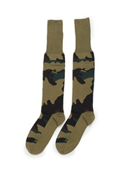 Valentino Camouflage Cotton Blend Long Socks Multi Colour
