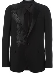 Alexander Mcqueen Rose Embroidered Blazer Black