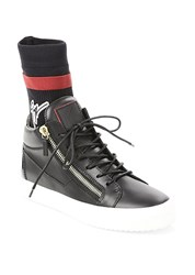 Giuseppe Zanotti Mid Top Leather Sock Sneakers Black Red