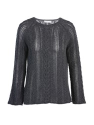 Stefanel Pure New Wool Cable Sweater Grey