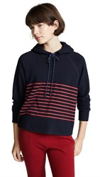 Sundry Cropped Stripes Hoodie Midnight