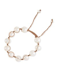 Margo Morrison Adjustable Baroque Pearl Toggle Bracelet White