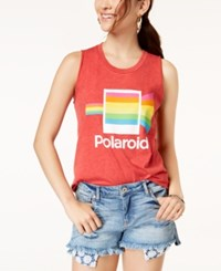 Mighty Fine Juniors' Polaroid Graphic Tank Top Red Mineral Wash