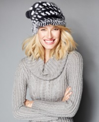 The Fur Vault Knitted Mink And Rabbit Fur Slouchy Beanie Grey White