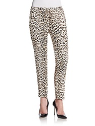 Haute Hippie Slim Shady Silk Track Pants Buff Leopard