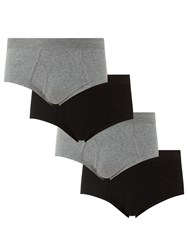 John Lewis Organic Cotton Briefs Pack Of 4 Black Grey