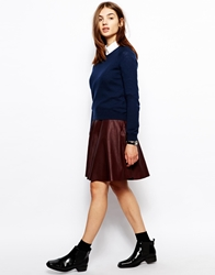 Bzr Skater Skirt In Leather Burgundy