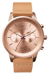 Men's Triwa 'Nevil' Chronograph Leather Strap Watch 42Mm Rose Rose Gold