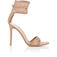 Gianvito Rossi Halle Lace And Suede Sandals Toast