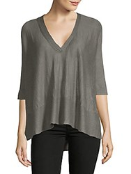 Inhabit Swing V Neck Linen Blouse Grey