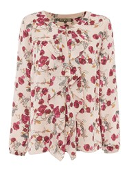 Biba Printed Frill Front Floral Leopard Blouse Multi Coloured