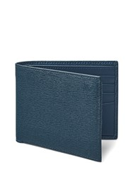 Aspinal Of London Billfold Wallet In Teal Saffiano And Black Suede Blue